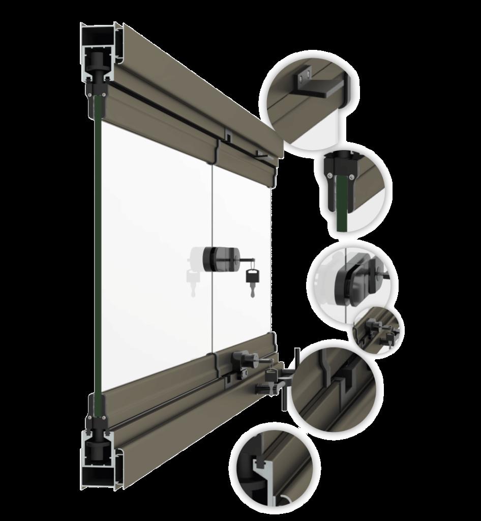 Imagem e 3D do sistema de envidraçamento de sacadas sem roldanas